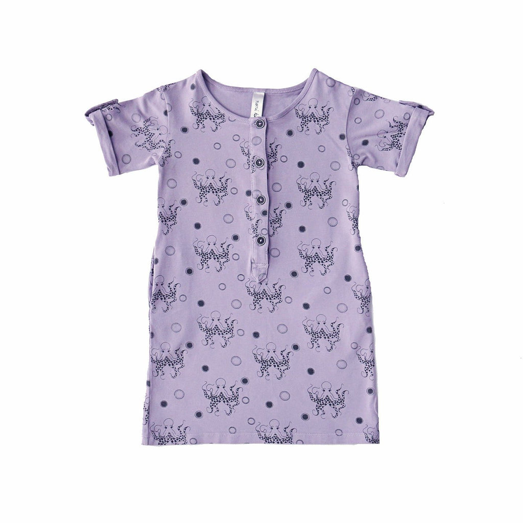 noni bee organic button dress purple octopus