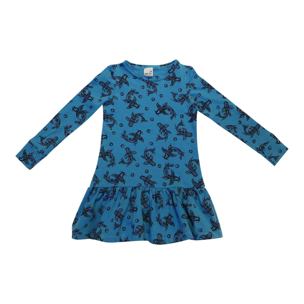 Noni Bee Organic Drop Waist Dress Blue Koi Fish