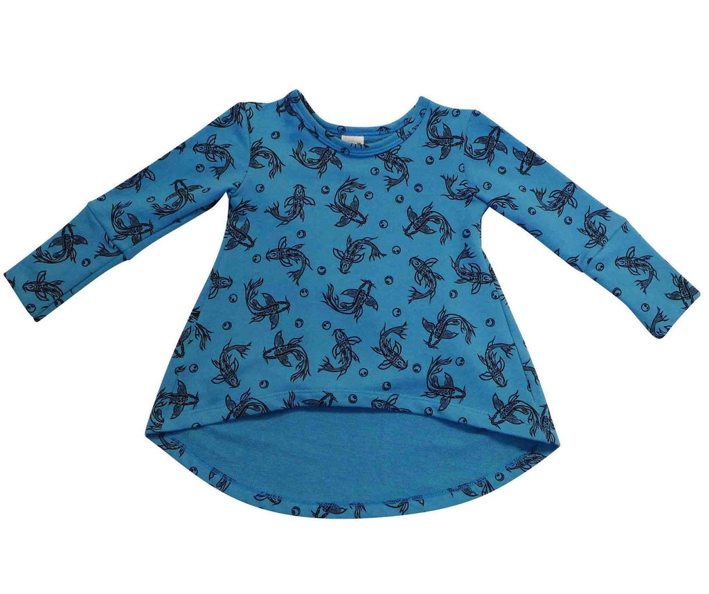 Noni Bee Organic Tunic Blue Koi Fish
