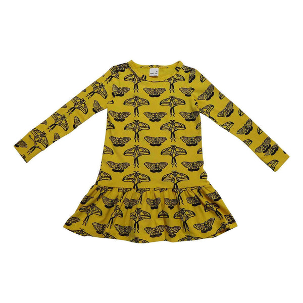 Noni Bee Organic Drop Waist Dress Yellow Moth Butterfly