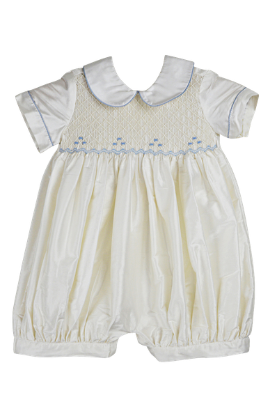 Smocked Embrodied Ivory Silk Romper