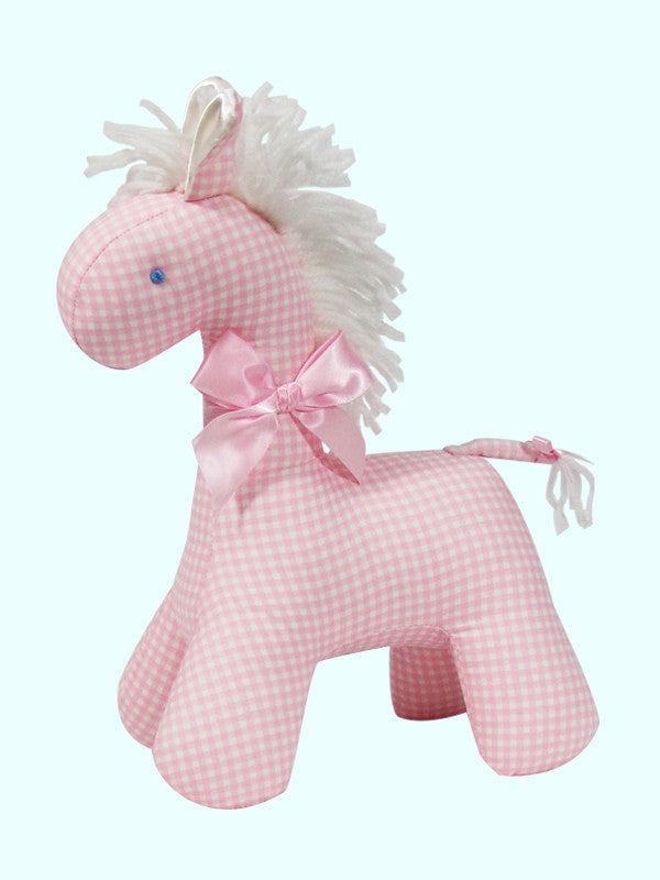 Pink Check Horse Rattle