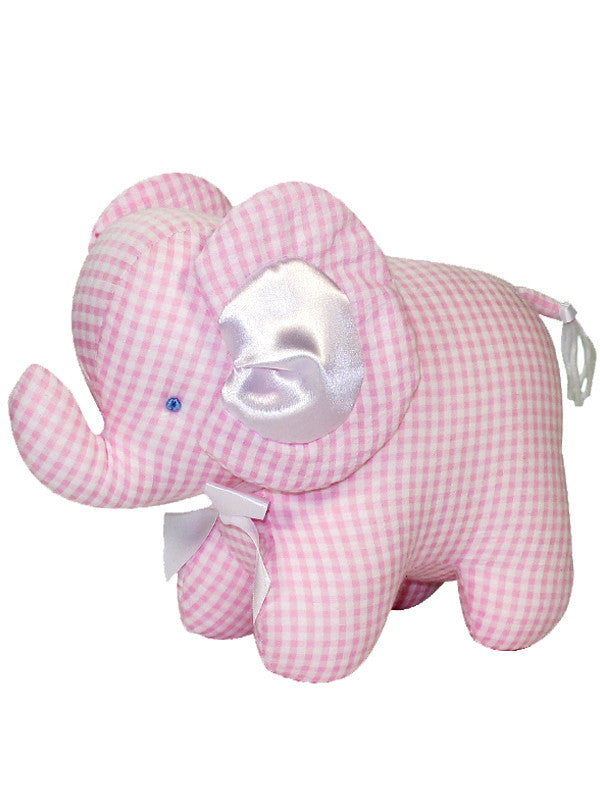 Pink Seersucker Check Elephant Rattle