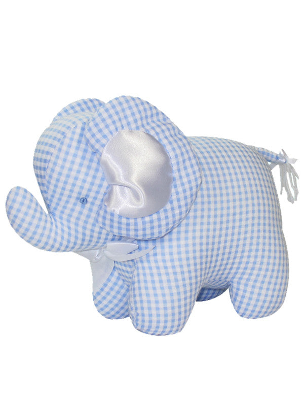 Blue Seersucker Check Elephant Rattle