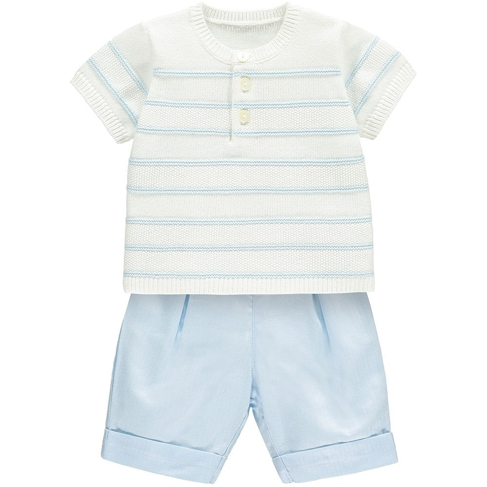 Stripe Knit & Woven Shorts Set