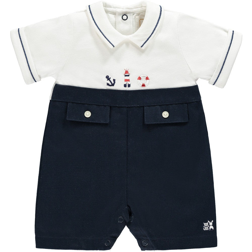Romper with Nautical Emb Navy