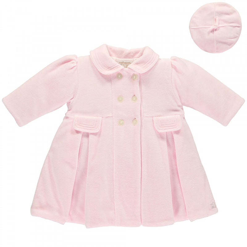 Velour Coat & Beret Pale Pink