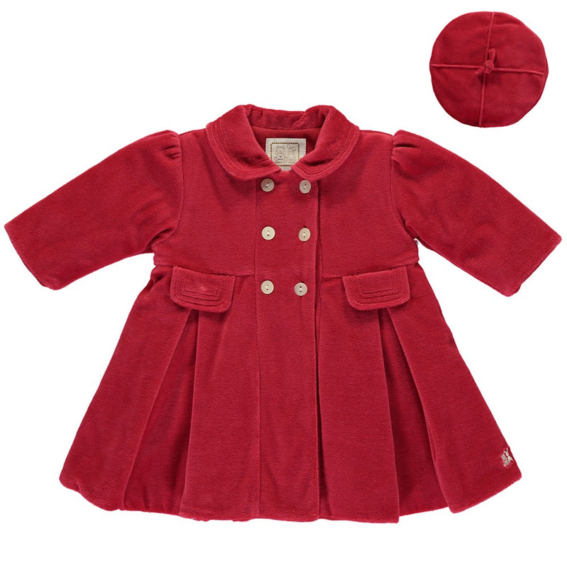 Velour Coat & Beret Red