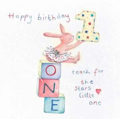 Happy Birthday 1 Reach For the Stars Little One Card