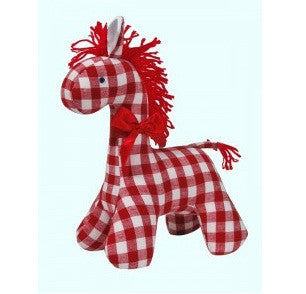 Red Check Horse Rattle