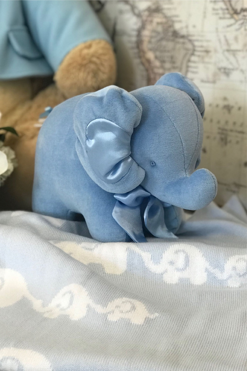 Endearing Elephants Pale Blue