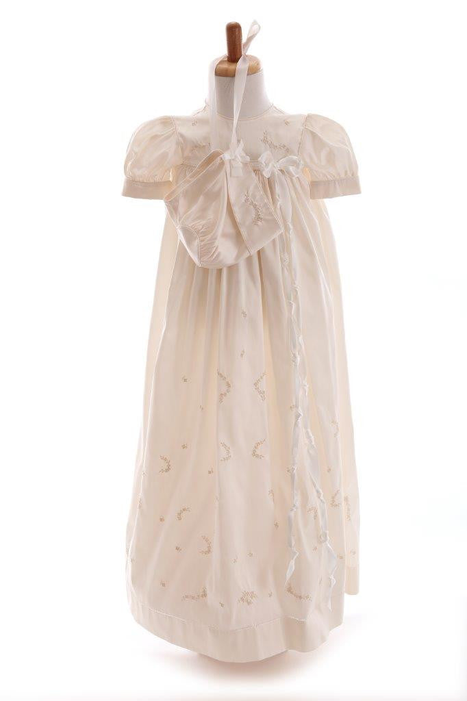 Bonney Hem Stitch Silk Christening Robe & Bonnet