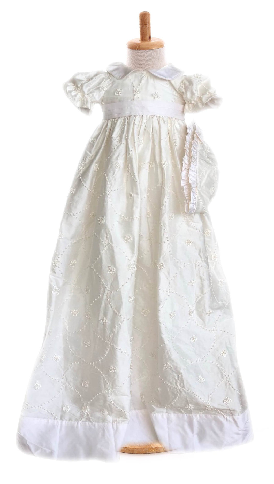Marie Embroidered Silk Christening Gown