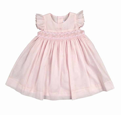 Soft Pink Flowers Smocked Dress