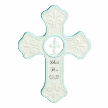 """Bless this Child"" Porcelain Cross with Embossing"