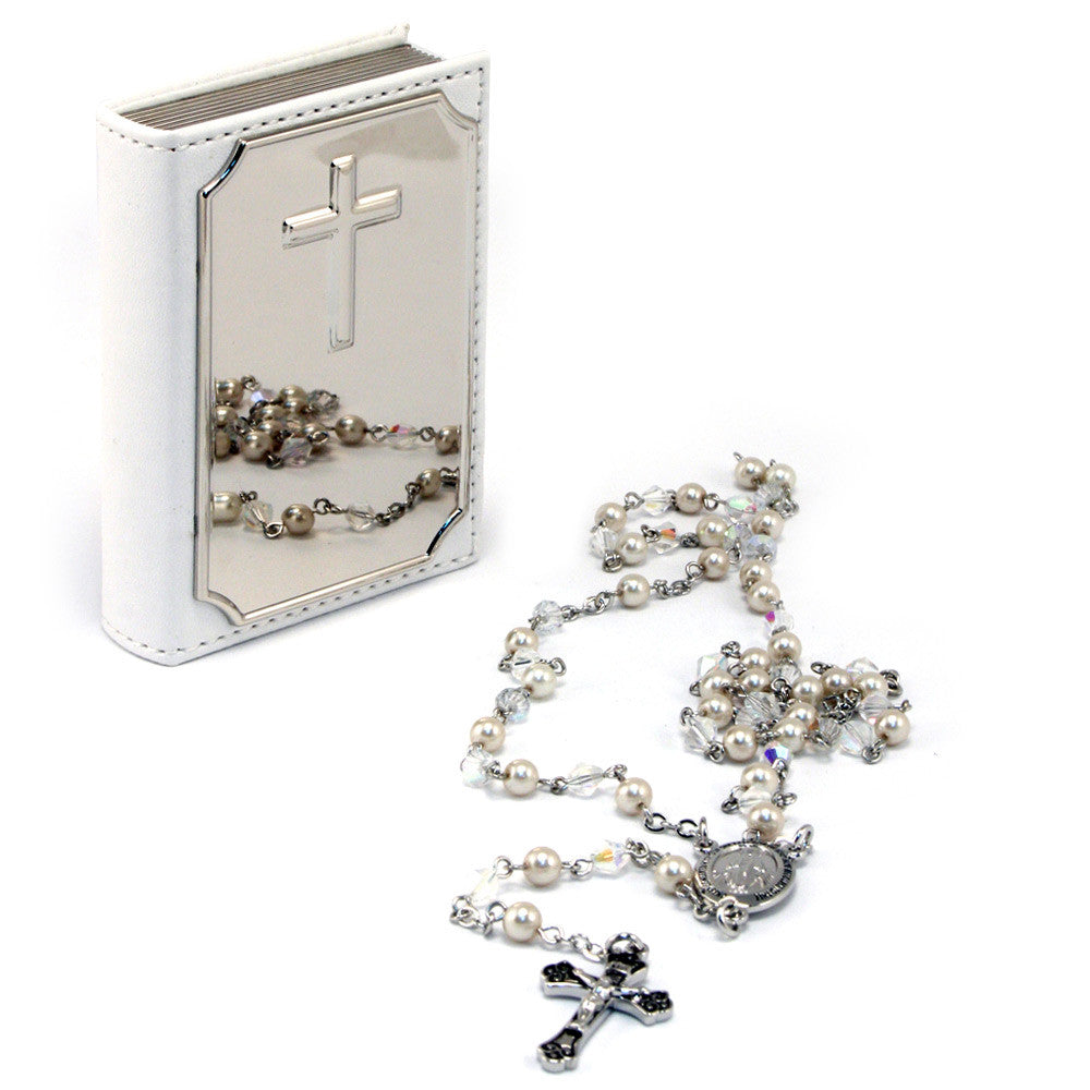 Rosary & Bible Case White