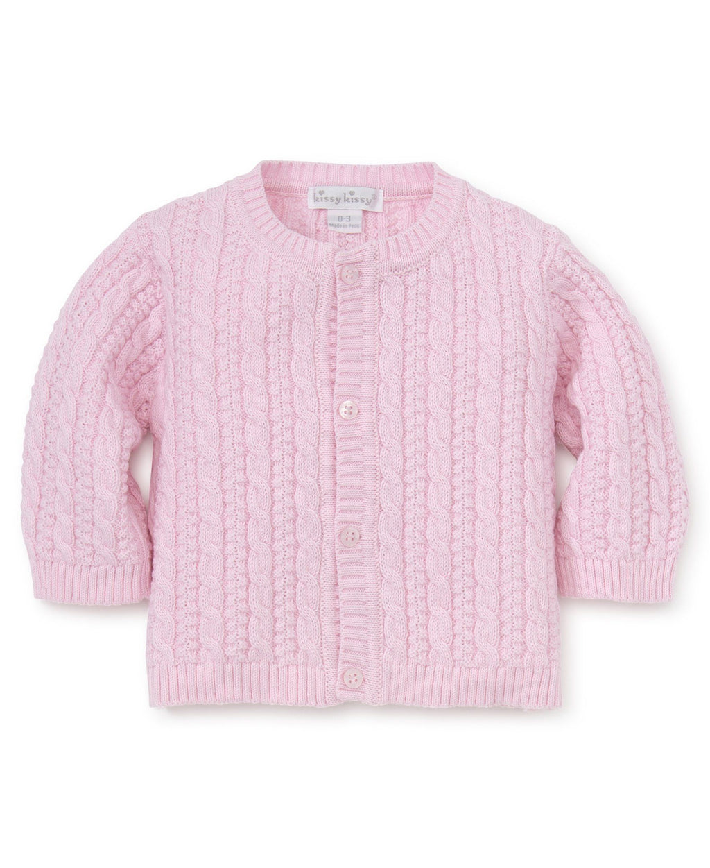Cable Knit Cardigan Baby Pink