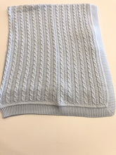 Load image into Gallery viewer, Cable Knit Blue Blanket Blue