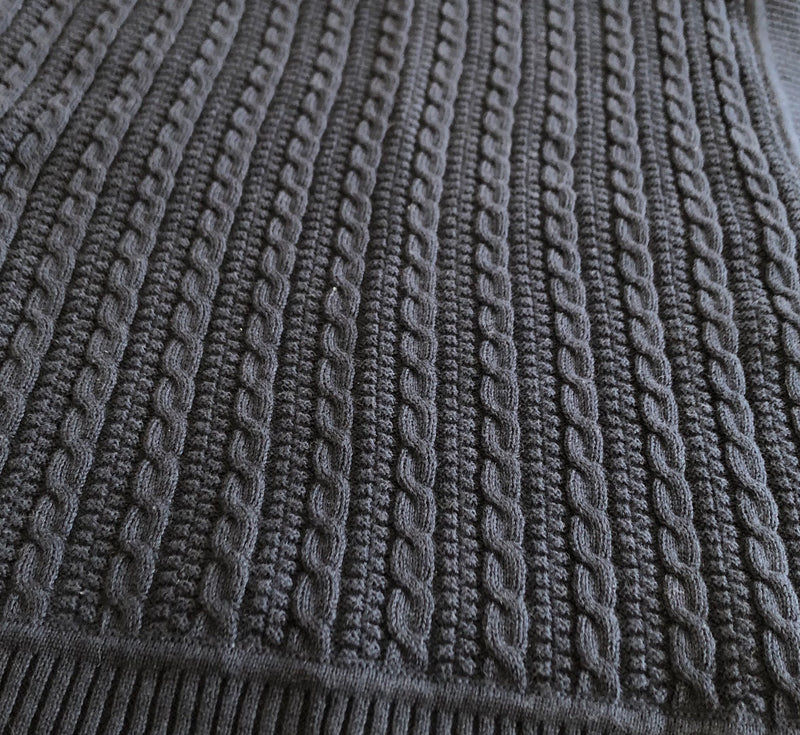 Cable Knit Navy Blanket
