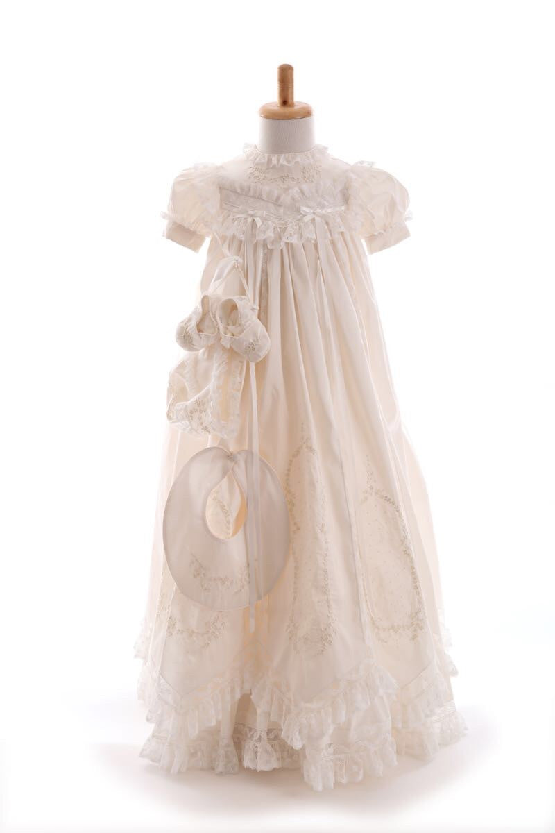Mary Silk Christening Robe Set Bonnet, Booties & Bib