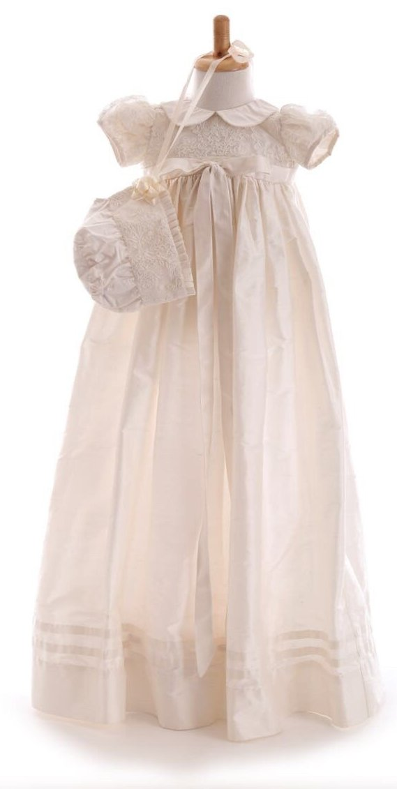 Emma Silk & Lace Christening Robe & Bonnet