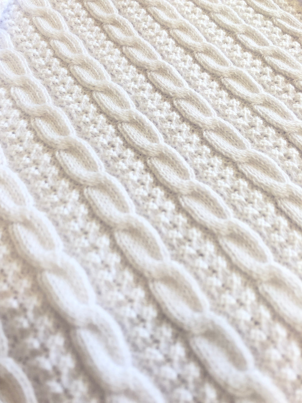 Cable Knit Blanket White