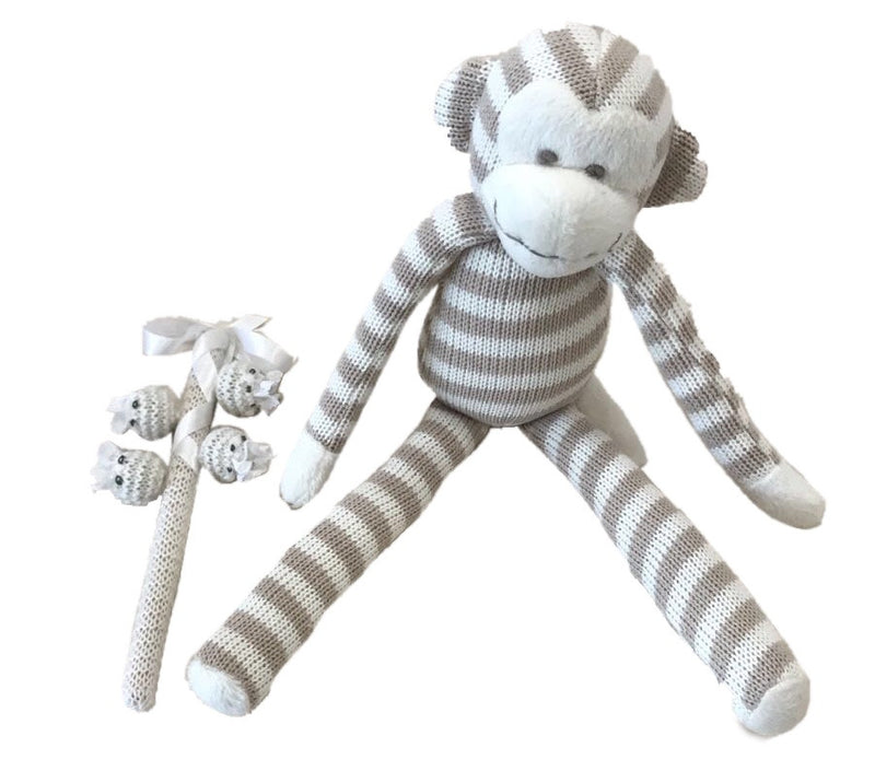 Knitted Monkey and Bonney Rattle