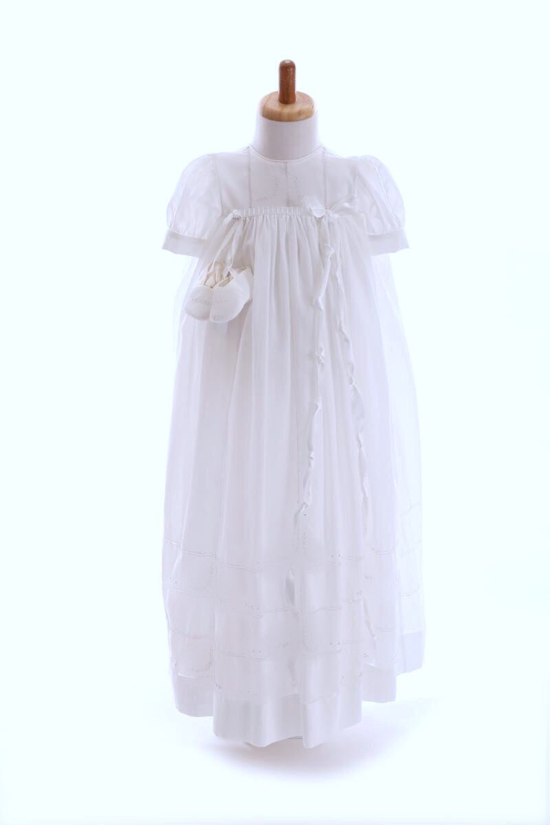 Bonney Linen White Emb Christening Robe