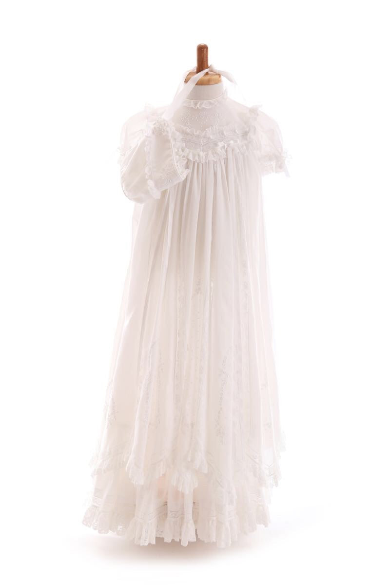 Mary Voile Christening Robe & Bonnet