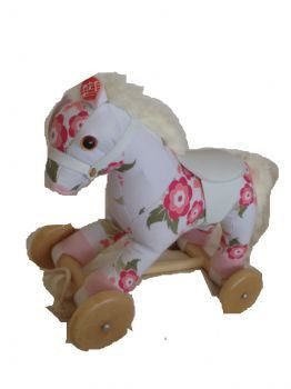 White Floral Musical Pull Along Pony