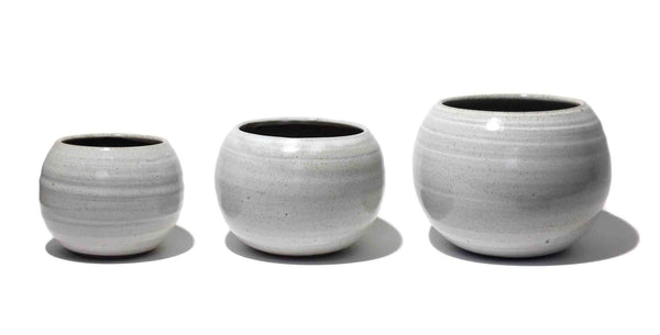 small handmade bonsai pots with drainage hole, white stoneware planters, frost resistant, three sizes small medium large