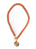 Orange Coral Stone Beaded Necklace with Two Toned Shield Medallion