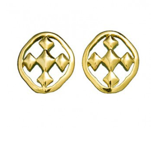 18K Gold Plated Shield of Faith Post Earrings