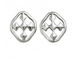 Rhodium Plated Shield of Faith Post Earrings