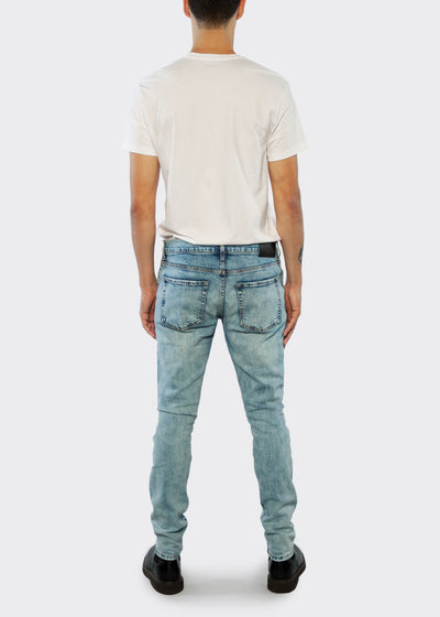 Skinny Fit Jean With Distressing - Light Blue