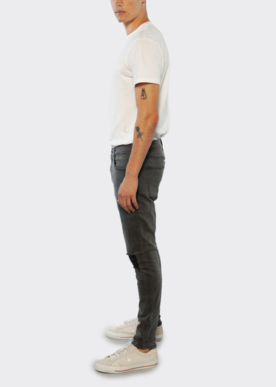 Skinny Fit Jean With Distressing - Light Grey