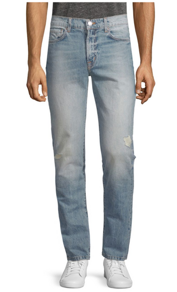 Slim Straight Distressed Cotton Jeans