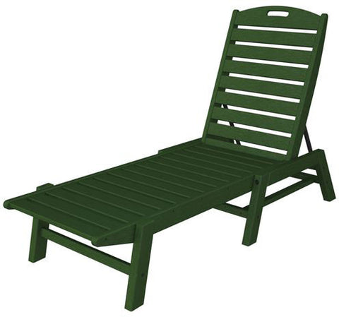 Polywood NAC2280GR Nautical Chaise - Stackable Green Finish - PolyFurnitureStore - 1