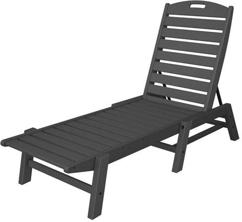 Polywood NAC2280GY Nautical Chaise - Stackable Slate Grey Finish - PolyFurnitureStore