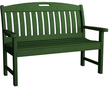 "Polywood NB48GR Nautical 48"" Bench Green Finish - PolyFurnitureStore - 1"