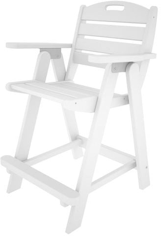 Polywood NCB40WH Nautical Counter Chair White Finish - PolyFurnitureStore - 1