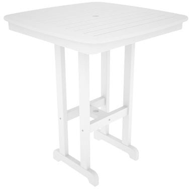 "Polywood NCBT37WH Nautical 37"" Bar Table White Finish - PolyFurnitureStore - 1"