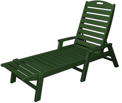Polywood NCC2280GR Nautical Chaise with Arms - Stackable Green Finish - PolyFurnitureStore - 1