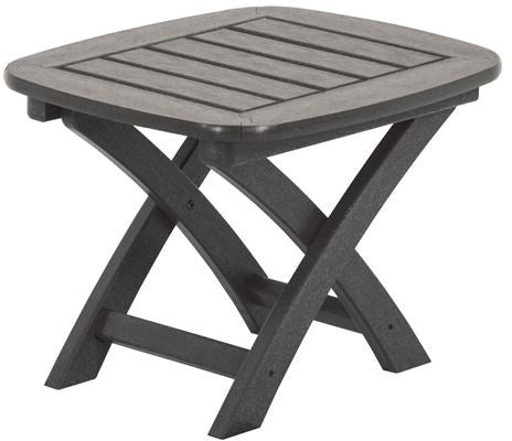 "Polywood NSTGY Nautical 21"" x 18"" Side Table Slate Grey Finish - PolyFurnitureStore - 1"