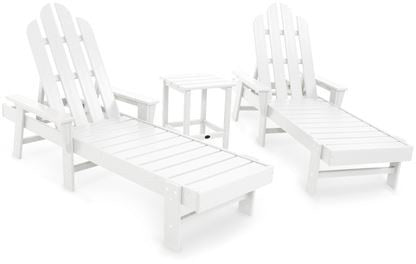 Polywood PWS187-1-WH Long Island Chaise 3-Piece Set White Finish - PolyFurnitureStore