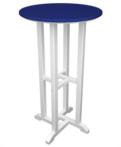 "Polywood RBT224FWHPB Contempo 24"" Round Bar Table White Frame / Pacific Blue Finish - PolyFurnitureStore - 1"