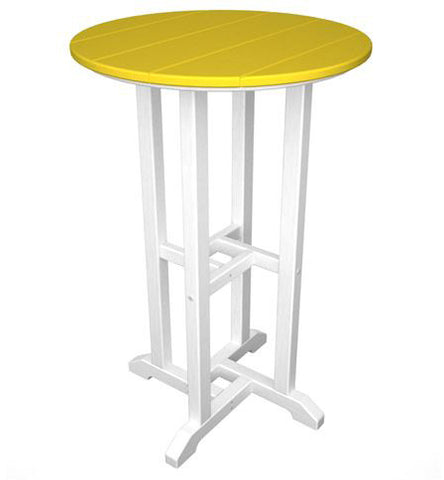 "Polywood RRT224FWHLE Contempo 24"" Round Counter Table White Frame / Lemon Finish - PolyFurnitureStore"
