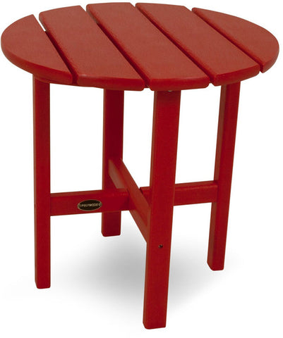 "Polywood RST18SR Round 18"" Side Table Sunset Red Finish - PolyFurnitureStore - 1"