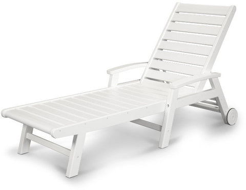 Polywood SW2280WH Signature Wheel Chaise Lounge White Finish - PolyFurnitureStore