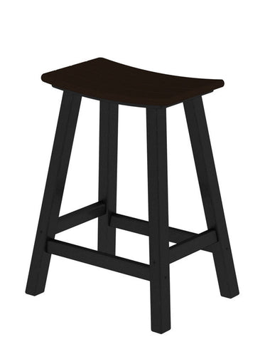 "Polywood 2011-FBLMA Contempo 24"" Saddle Bar Stool in Black Frame / Mahogany - PolyFurnitureStore"